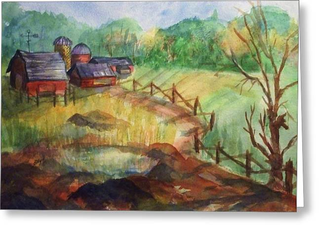 Split Rail Fence Paintings Greeting Cards - Down the Road a Piece Greeting Card by Ellen Levinson