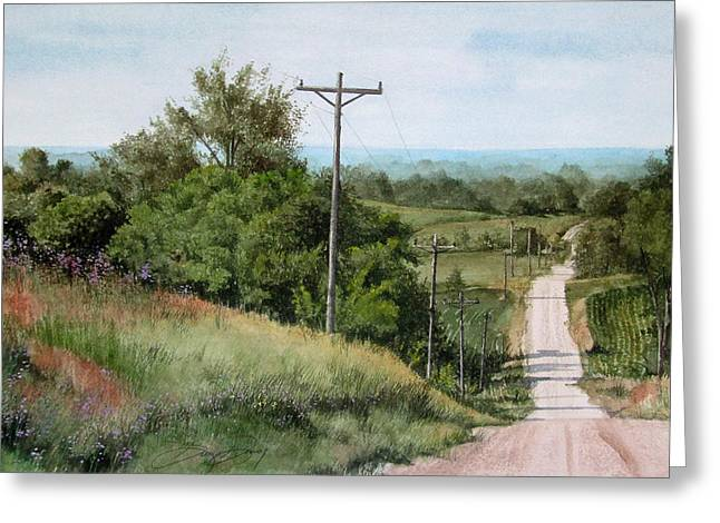 Gravel Road Paintings Greeting Cards - Down the Road Greeting Card by Denny Dowdy