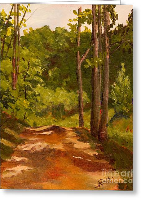 The Red Dirt Road Greeting Card by Janet Felts