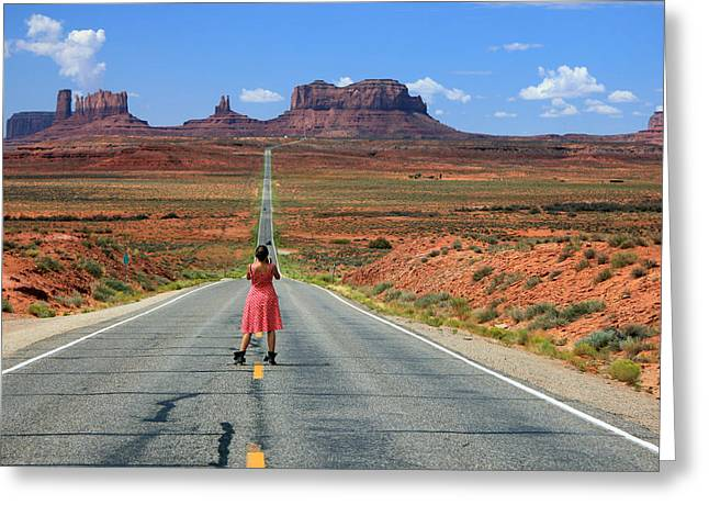 Scenic Drive Greeting Cards - Down the Road to Monument Valley Greeting Card by Johnny Adolphson