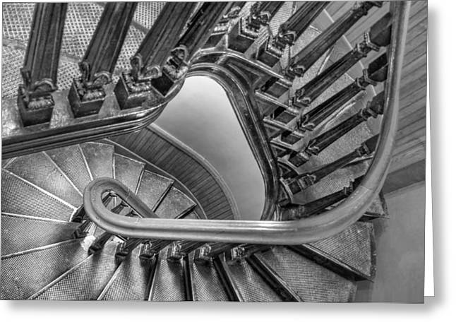 Wooden Stairs Greeting Cards - Down the Side - bw Greeting Card by Nikolyn McDonald