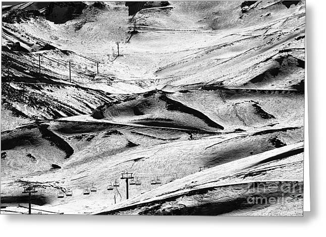 Skiing Art Print Greeting Cards - Down the Slope Greeting Card by John Rizzuto