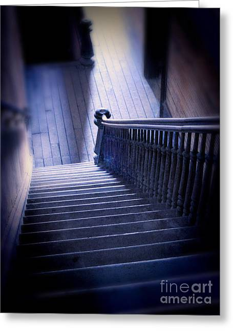 Haunted Woods Greeting Cards - Down the Stairs in Abandoned Building Greeting Card by Jill Battaglia