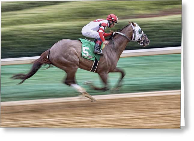 Blinders Greeting Cards - Down the Stretch - Horse Racing - Jockey Greeting Card by Jason Politte