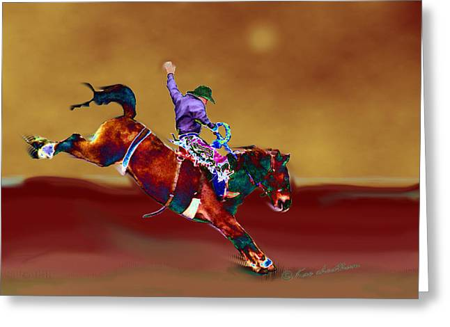 Bronc Greeting Cards - Down To Earth Greeting Card by Kae Cheatham