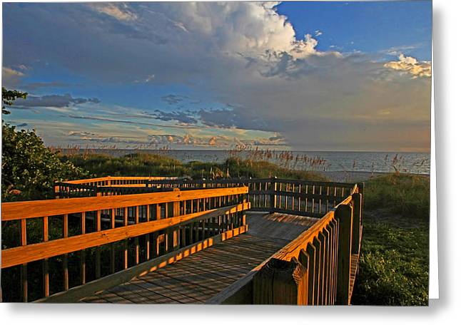 Walkway To The Beach Greeting Cards - Down To The Beach - Florida Seascape Greeting Card by HH Photography of Florida