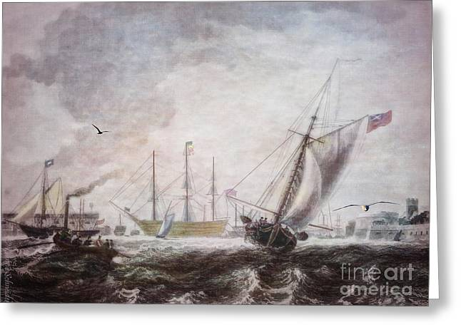 Historic Ship Greeting Cards - Down to the Sea in Ships Greeting Card by Lianne Schneider