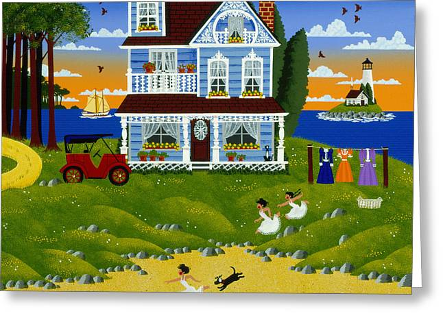 New England Ocean Greeting Cards - Down to the Sea In Slips Greeting Card by Merry  Kohn Buvia