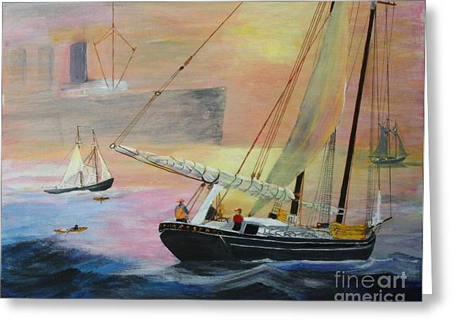 Schooner Mixed Media Greeting Cards - Down to the Sea - Peril on The Fishing Banks Greeting Card by Bill Hubbard