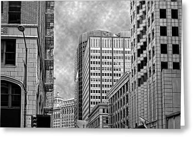Down Town Greeting Card by Camille Lopez