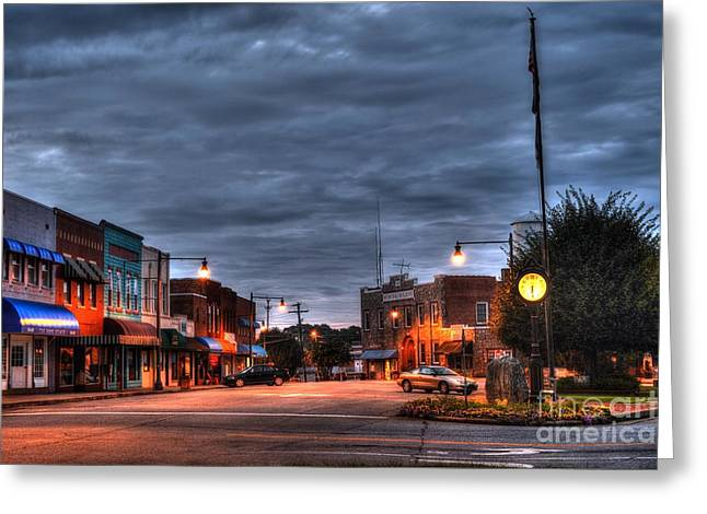 Police Station Greeting Cards - Down Town Granite Falls at six thirty in the morning Greeting Card by Robert Loe