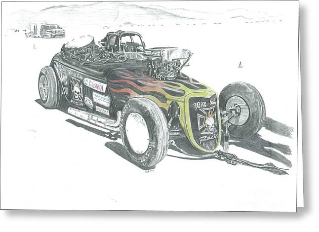 Salt Flats Racer Greeting Cards - Down Under Roadster Greeting Card by Stacey Becker