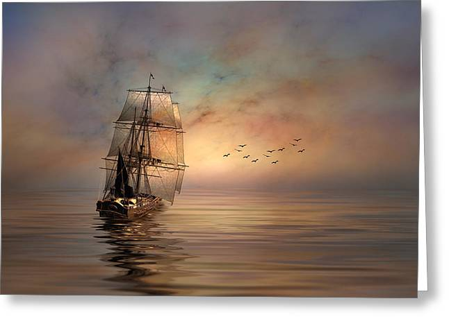 Pirate Ships Greeting Cards - Down Wind Greeting Card by Stephen Warren