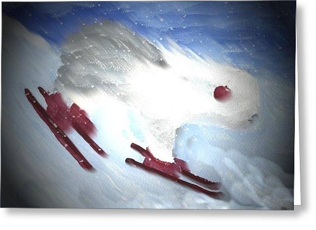 Oes Greeting Cards - Downhill Racer Greeting Card by Cathy Howard