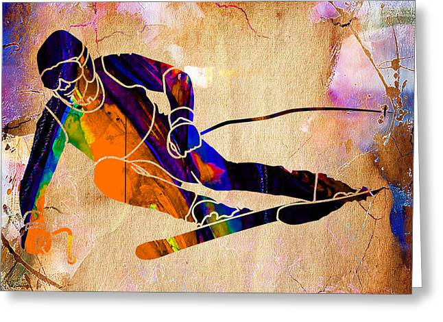 Ski Mixed Media Greeting Cards - Downhill Racer Greeting Card by Marvin Blaine