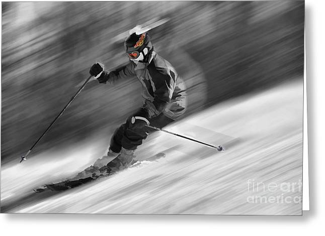Downhill skier  Greeting Card by Dan Friend