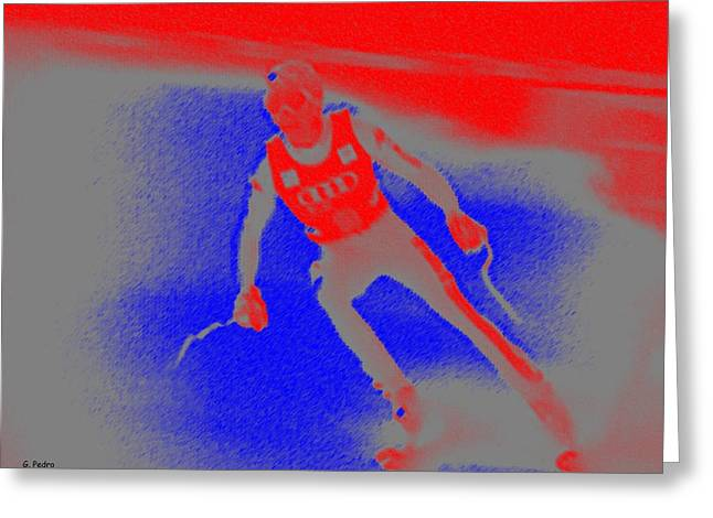 Athlete Pastels Greeting Cards - Downhill Skier Greeting Card by George Pedro