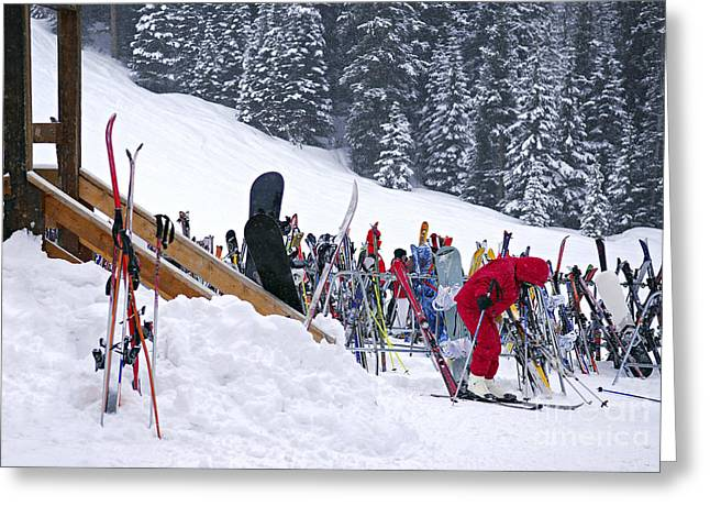 Chalet Greeting Cards - Downhill skiing Greeting Card by Elena Elisseeva