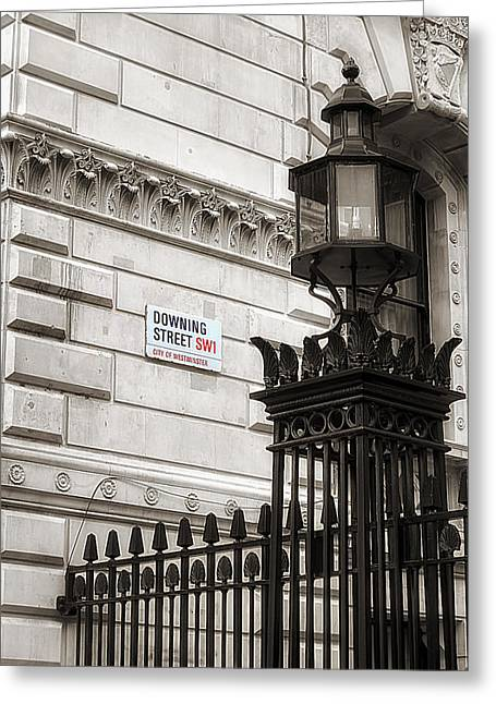 Glass Facade Greeting Cards - Downing Street London Greeting Card by Mountain Dreams