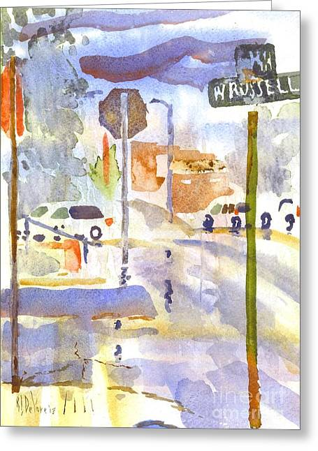 Main Street Corners Greeting Cards - Downpour Greeting Card by Kip DeVore