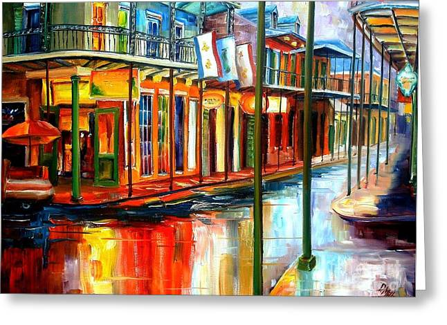 Buildings Paintings Greeting Cards - Downpour on Bourbon Street Greeting Card by Diane Millsap