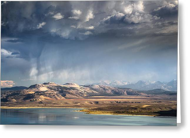 Breaking Through Greeting Cards - Downpour over Crater Mountain Greeting Card by Alexander Kunz