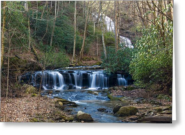 Waterfall Image Greeting Cards - downstream from Pearsons Falls Greeting Card by Chris Flees