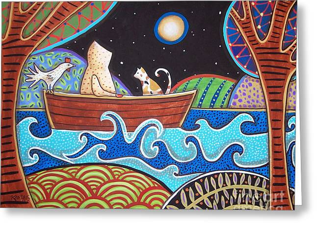 Folk Art Landscapes Greeting Cards - Downstream Greeting Card by Karla Gerard