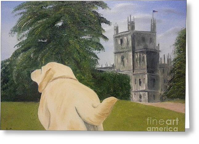 White Lab Greeting Cards - Downton Abbey Greeting Card by Bev Conover