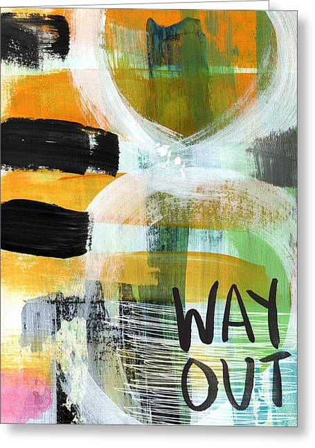 Bedroom Art Greeting Cards - Downtown- abstract expressionist art Greeting Card by Linda Woods