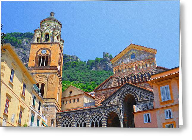 Dry Brush Greeting Cards - Downtown Amalfi Italy  Greeting Card by Irina Sztukowski