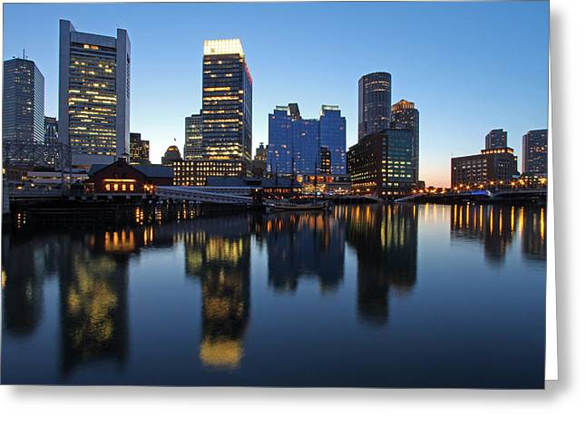 Downtown And Intercontinental Hotel Boston Greeting Card by Juergen Roth