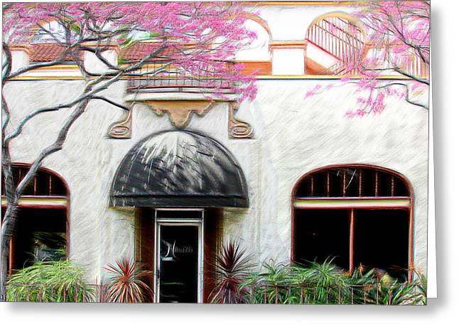 Pink Blossoms Digital Greeting Cards - Downtown Greeting Card by Athala Carole Bruckner