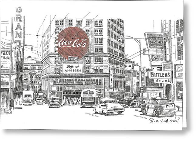 Downtown Drawings Greeting Cards - Downtown Atlanta 1948 Greeting Card by Shawn Vincelette