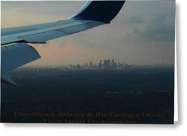 Are Plane Greeting Cards - Downtown Atlanta and the Georgia Dome Greeting Card by Michelle Adcock