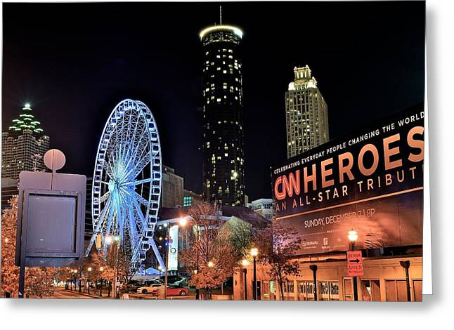 Night Hawk Greeting Cards - Downtown Atlanta Greeting Card by Frozen in Time Fine Art Photography