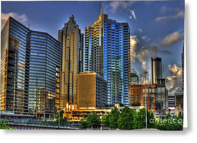 Metropolitan Area Greeting Cards - Dynamic Reflections Downtown Atlanta Greeting Card by Reid Callaway