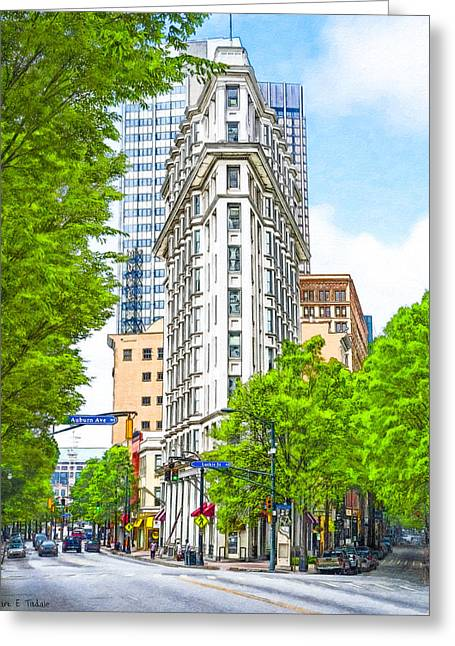 National Historic District Greeting Cards - Downtown Atlanta - The Flatiron Building Greeting Card by Mark E Tisdale