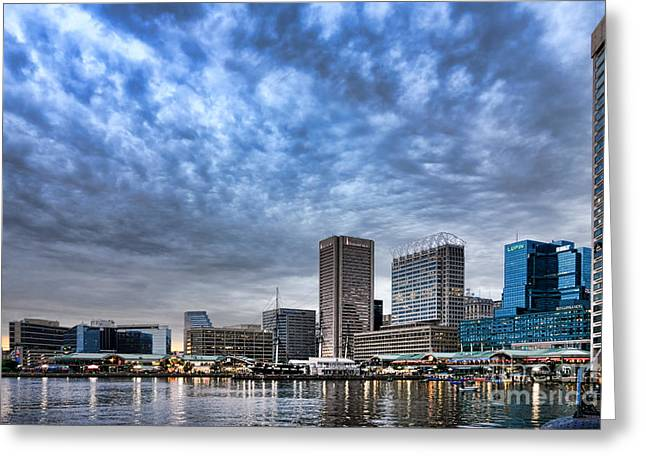 Inner Reflections Greeting Cards - Downtown Baltimore Greeting Card by Olivier Le Queinec