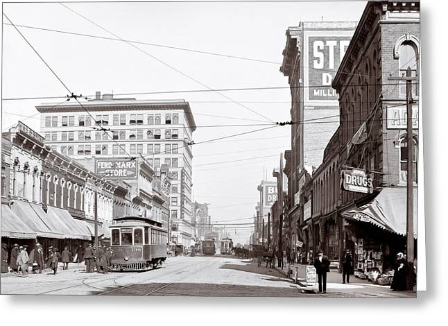 Al Central Greeting Cards - Downtown Birmingham Alabama - A Century Ago Greeting Card by Mark E Tisdale