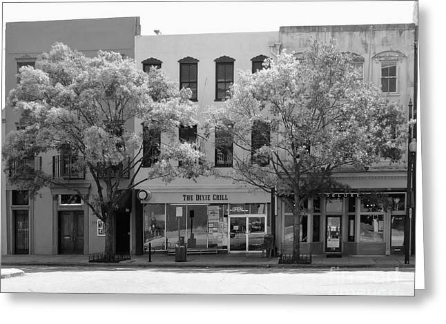 Store Fronts Greeting Cards - Dixie Grille In Black And White Greeting Card by Bob Sample