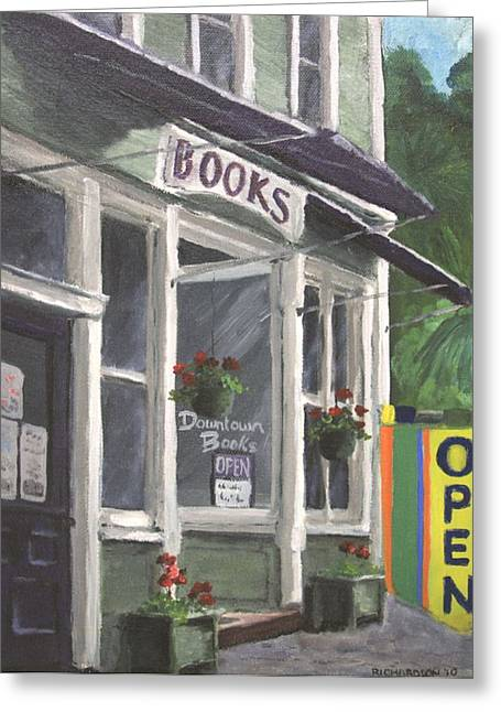 Purple Awnings Greeting Cards - Downtown Books Greeting Card by Susan Richardson