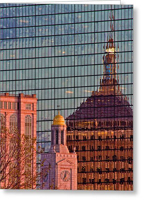 Tea Party Greeting Cards - Downtown Boston Reflection Greeting Card by John McGraw