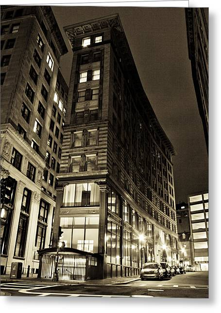 Tea Party Greeting Cards - Downtown Boston Sepia Greeting Card by John McGraw