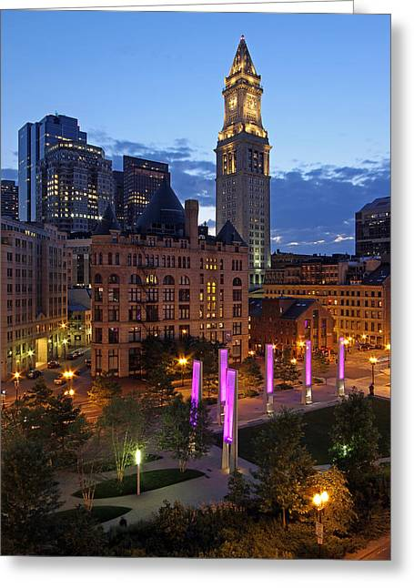 Boston Photos Greeting Cards - Downtown Boston with the Custom House Tower Greeting Card by Juergen Roth