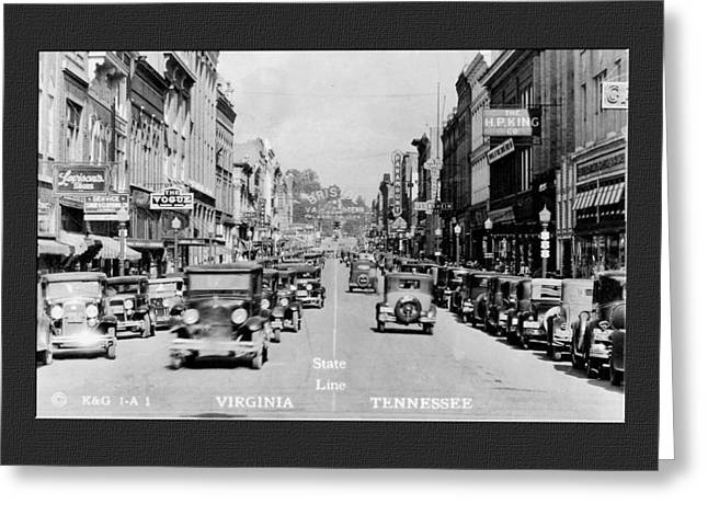 Virginia Postcards Greeting Cards - Downtown Bristol Va TN 1931 Greeting Card by Denise Beverly