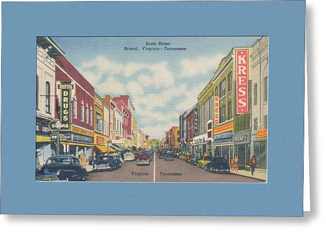 Virginia Postcards Greeting Cards - Downtown Bristol Va TN 1940s Greeting Card by Denise Beverly