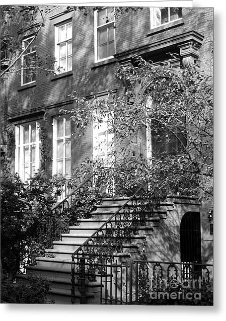 Shower Curtain Photographs Greeting Cards - NYC Downtown Brownstone in BW Greeting Card by Anahi DeCanio - ArtyZen Studios