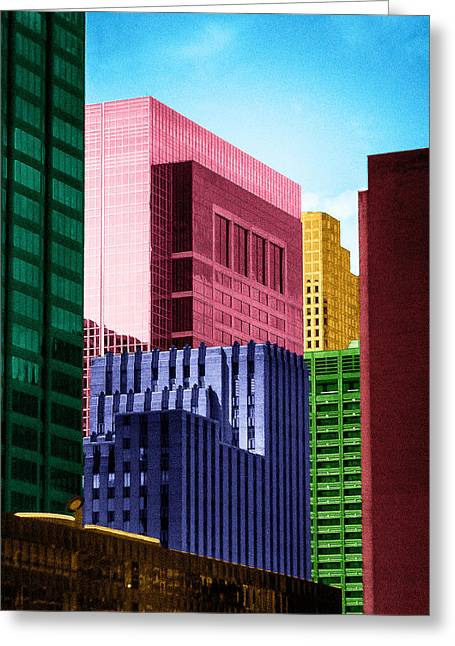Tetris Block Greeting Cards - Downtown Building Blocks Greeting Card by Bartz Johnson