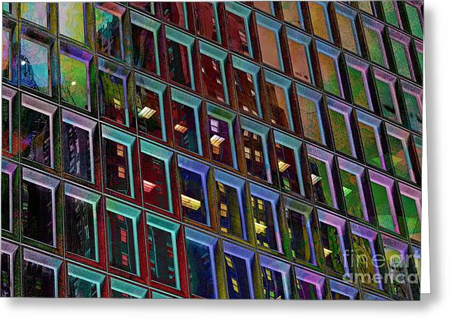 Industrial Background Mixed Media Greeting Cards - Downtown Building  Greeting Card by M and L Creations